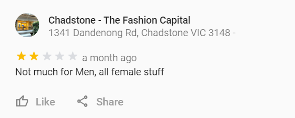 Chadstone google review paddy