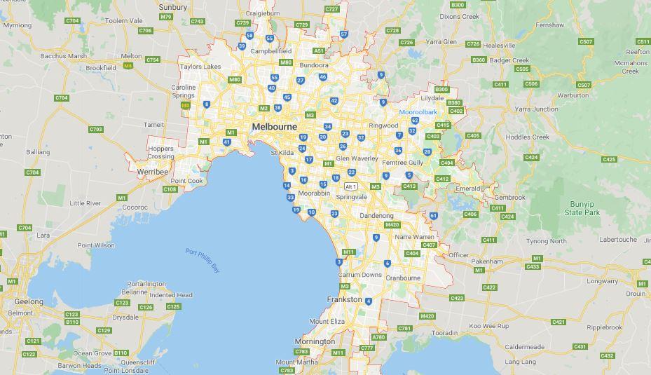 Melbourne population distribution map