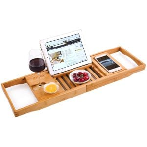 bath caddy with wine holder and ipad stand