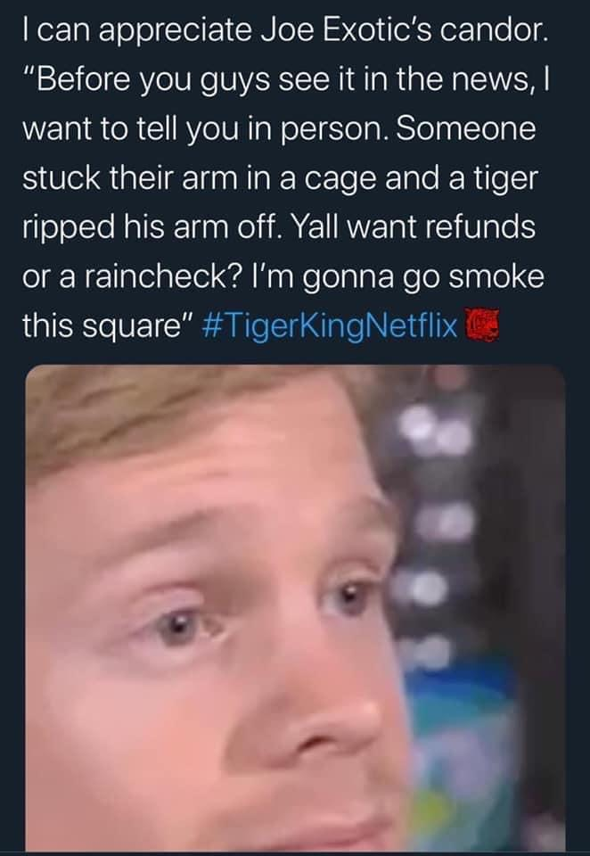 TIGER KING RIPPED ARM OFF MEME