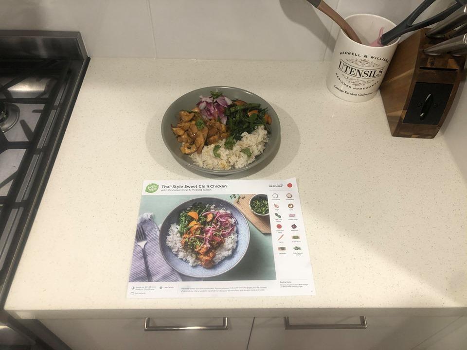 hello Fresh thai style sweet chilli chicken
