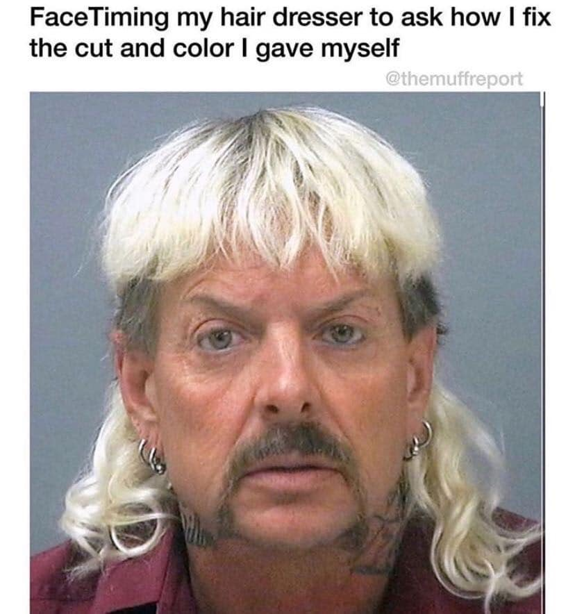 joe exotic hair dresser meme
