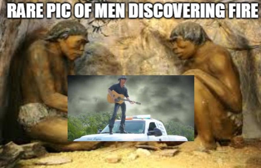 men discovering fire joe exotic meme