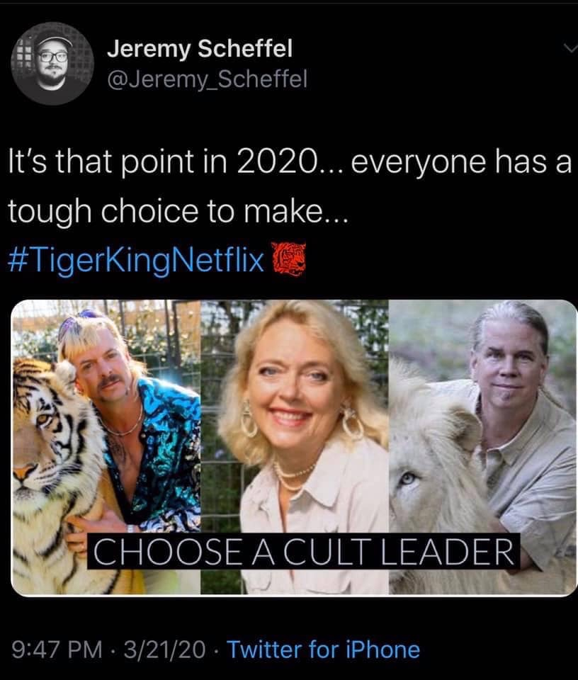 tiger king meme choose a leader