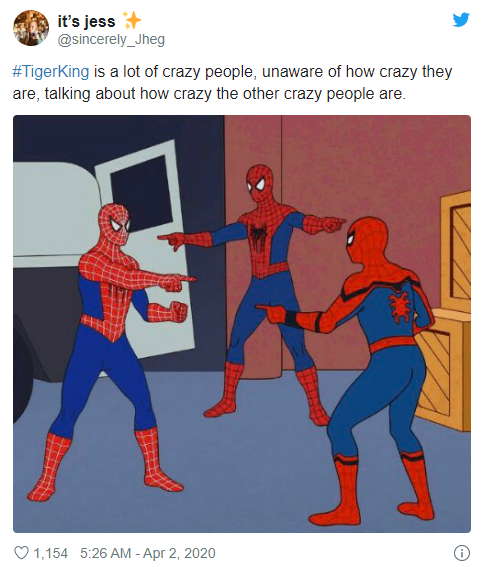 tiger king spiderman meme