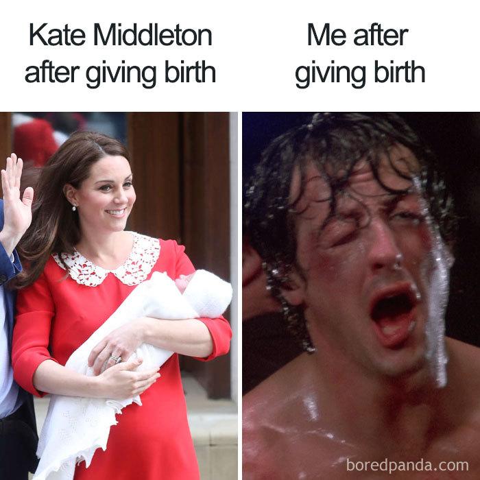 kate middleton giving birth versus me giving perth pregnancy meme