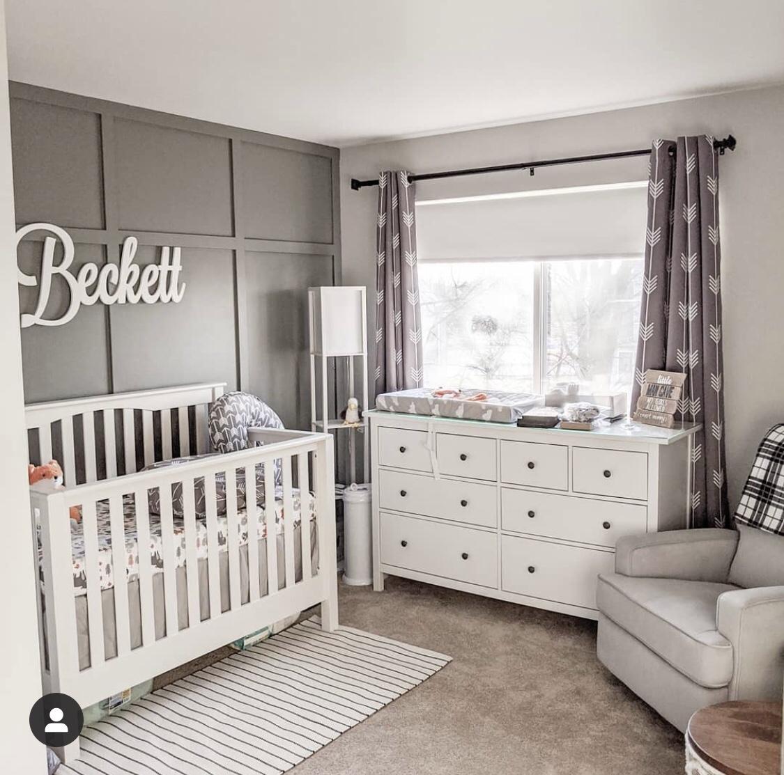 grey boy nursery, white wood furniture small nursery