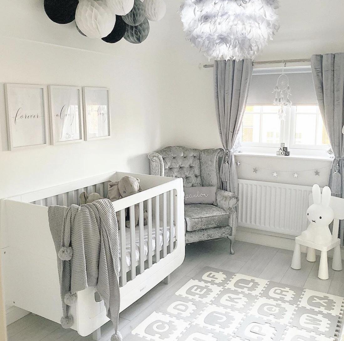 grey baby boy room with grey curtains, boy nursery