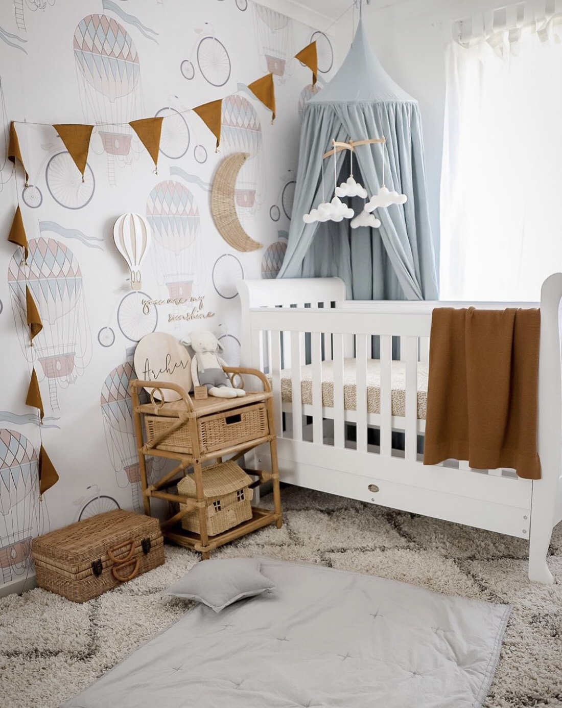 Australian baby nursery white walls with wall decals kmart big w boori cot white