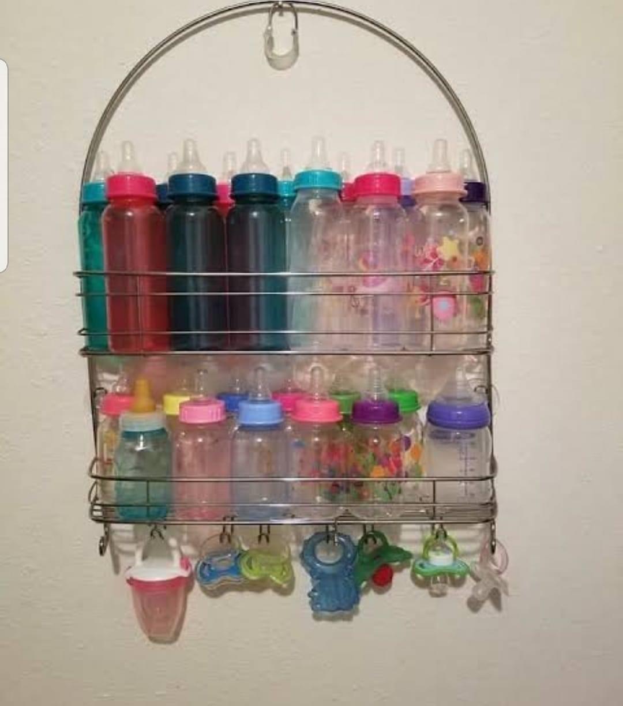 kmart bottle storage hack with shower caddy