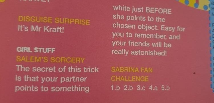 salems sorcery from sabrinas secrets magazine 90s answer