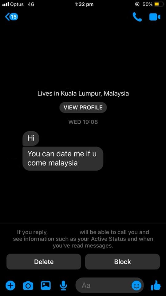 You can date me if you come to Malaysia